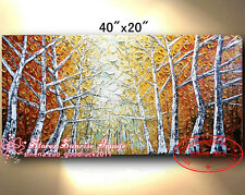 P1603 Hand painted Abstract Birch Tree Oil Painting Forest Seasons /No Frame