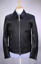 New! * BURBERRY * London England Textured Ribbed Biker Moto Leather Jacket 38/M