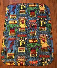 "MARVEL COMICS print Kids or Baby size Fleece Blanket 36"" X 28"" Very Cute!!!"