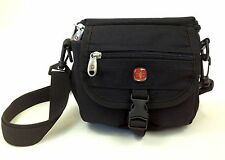 Swiss Gear Small Black Lightweight Padded Camera Bag Belt Loop Velcro Zipper