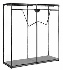 Portable Closet Wardrobe Clothes Garment Storage Rack Clear Cover Heavy Rolling