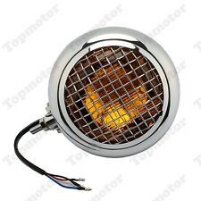 Chrome Amber Motorcycle Grill Retro Vintage Headlight Cafe Racer Bobber Chopper