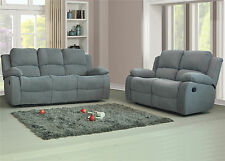 New Valencia 3 Seater Electric Recliner Fabric Sofa Light Grey Roxy Bargain