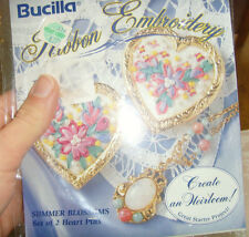 Bucilla Ribbon Embroidery Summer Blossoms Set of 2 heart pins craft kit flowers