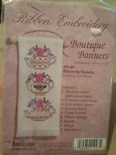 "Ribbon Embroidery Boutique Banners Blooming Teapots 3 1/4"" X 7 1/2"""