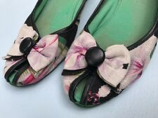 Miss L Fire Shoes 40 US 9.5 10 Floral Bow Wedges Low Heels Black Pink