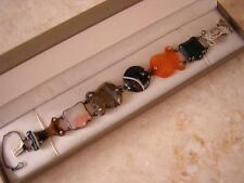 FINE ANTIQUE CELTIC VICTORIAN HARD STONE SCOTTISH AGATE & SILVER BRACELET 1860