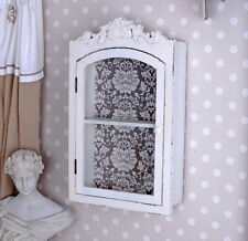 Hanging Display Cabinet Shabby Chic Wall Antique White Showcase