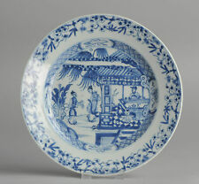 Superb 18C B&W Chinese Porcelain Plate 'Figures in Garden/Pagode' Antique