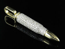 Men's 10K Yellow Gold Genuine Diamonds 3D Bullet Charm Pendant 1.50ct 1.6""