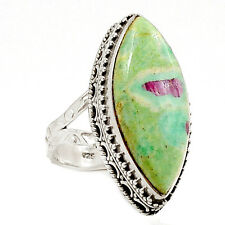 Artisan - Ruby In Fuchsite 925 Sterling Silver Ring Jewelry s.7 SR201914