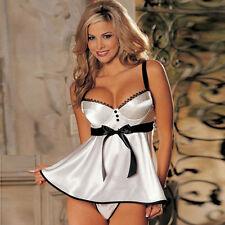 Mujere Lencería sexy babydoll vestido blanco noches Camisones Ropa interior