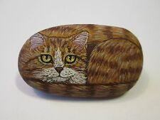 Orange Tabby Cat hand painted on a stone - pet rock - by Ann Kelly