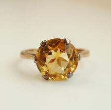 Fine Vintage Art Deco 9ct Gold Synthetic Yellow Spinel Ring c1935; Size 'L 1/2'