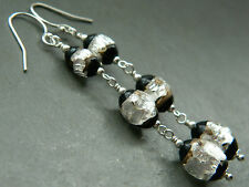Vintage Art Deco Venetian Black & Silver Foil Glass Beads & 925 Silver Earrings