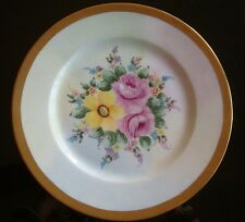 ANTIQUE LIMOGES HAND PAINTED FLOWERS ROSES & ENCRUSTED GOLD PLATE CHARGER 10""