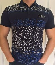 Hugo Boss Mens Polo Top Tshirt Navy Blue And White Size M New -Green Label//