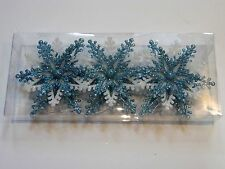 3 TURQUOISE & WHITE SNOWFLAKE CHRISTMAS SHATTER RESISTANT ORNAMENTS DECORATION