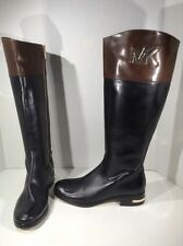 MICHAEL Kors Womens Haley Black Brown Knee High Riding Boot Shoes Sz 6 ZF-949