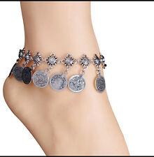 Vintage Metal Coins Tassels Silver Foot Chain Barefoot Anklets
