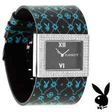 Playboy Watch Bunny Black Leather Band Crystals Stainless Steel Back EASTER GIFT