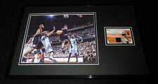 Allen Iverson Framed 11x17 Game Used Warmup & Photo Display 76ers
