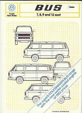 VW VOLKSWAGEN BUS 7, 8, 9 AND 12 SEATER SALES BROCHURE 1984