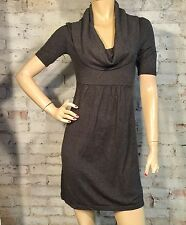BANANA REPUBLIC DRESS SMALL CASUAL DAY SWEATER SHORT SLEEVE SHIFT GRAY ANGORA