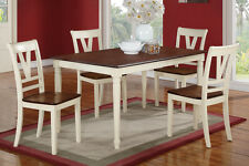 Quaint Design 5pc Dining Set Table Chairs Cherry Wod Finish Table Top Chair seat