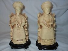 Carved Asian Vtg. Oriental Resin Chinese Emperor & Empress Figurines Wood Base