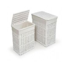 Laundry Baskets Wicker Hamper Set Lid Storage Room Organizer Clothes White Home