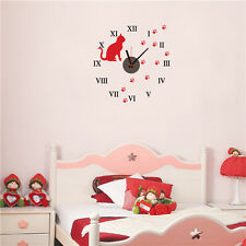 Red Cat - Pet Animal Wall Sticker Clock