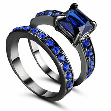 Lady Black Wedding sapphire CZ Ring Size 7 Cocktail Cluster Band Set Pair Gift