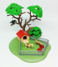 Playmobil Fenced in Dog House on Grassy Base, 2 Puppies, Food Dishes, Tree Stump