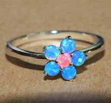 pink blue fire opal ring Gemstone silver jewelry Sz 8 petite Flower engagement