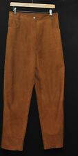 "BEAUTIFUL VINTAGE REAL LEATHER SUEDE TAN BROWN TROUSERS  W 30"" 1980S"