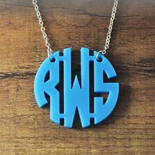 Custom acrylic block monogram necklace,17colors,name necklace,gift for Christmas