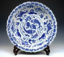 "Blue&White QingHua Fishes & Lotus Painted Large Charger Plate 11"" Home Decor #C"