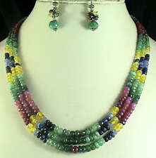 NATURAL RUBY EMERALD SAPPHIRE MULTI BEADS NECKLACE STONE CLASP FREE EARRINGS