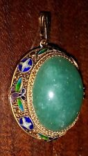 Antique Chinese Jade Gold Vermeil Silver Filigree Pendant with Enamel Decoration