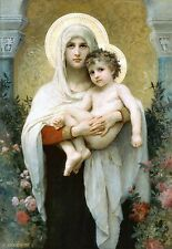 Old Masters A4 Reprint  (F342) Madonna of the Roses 1903 by William Bouguereau