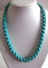 """Blue Turquoise Necklace Round And Dumbbell Shaped Beads 21"""" Long   (nk1664)"""