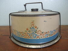 Antique Vintage Tin Metal Cake Carrier Saver Container 30's 40's