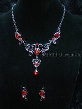 Vintage Antique Victorian style silver toned costume jewelry red stones