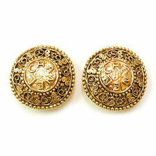 CHANEL Gold Plated CC Logos Vintage Earrings #1271a Rise-on