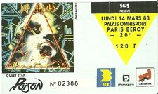 RARE / TICKET DE CONCERT - DEF LEPPARD / POISON : LIVE A PARIS ( FRANCE) 1988