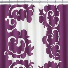 Crate and Barrel Marimekko Samovaari Berry Purple white cotton shower curtain