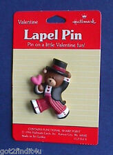 Buy3/Get1FREE~MOC Hallmark PIN Valentines BEAR TUXEDO PINK HEART Vintage Holiday