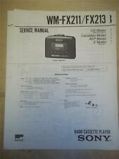 Sony Service Manual~WM-FX211/FX213 Walkman Radio Cassette Player~Original~Repair