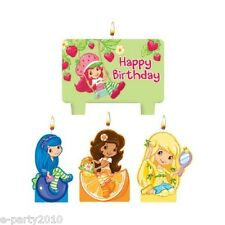 STRAWBERRY SHORTCAKE MINI CANDLE SET (4pc) ~ Birthday Party Supplies Decorations